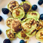 mini spinach pancakes and berries